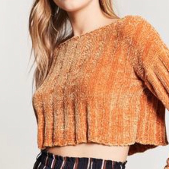 Forever 21 Tops - XXI Chenille Golden Yellow Sweater Crop Top